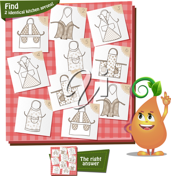 Visual Game for children. Task: Find 2 identical kitchen aprons
