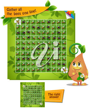 Visual Game for children. Task: gather all the  bees one line!