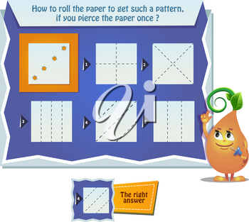 educational game for kids, puzzle. development of spatial thinking in children. Task game how to roll the paper to get such a pattern, if you pierce the paper once ?