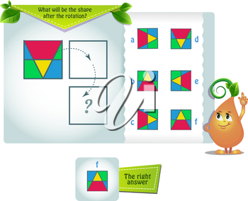 educational game for kids and adults development of mental rotation skills, iq. Thinking Puzzles . Task game what will be the shape after the rotation