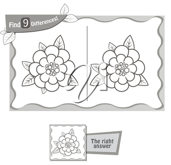 visual game for children and adults. Task to find 9 differences in the flower. black and white vector illustration