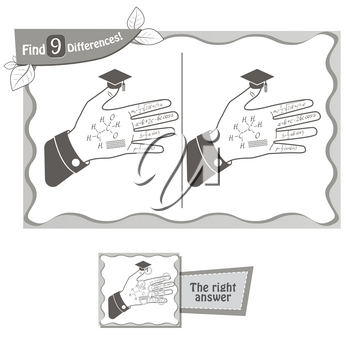 visual game for children and adults. Task to find 9 differences in the hand of a student. black and white vector illustration