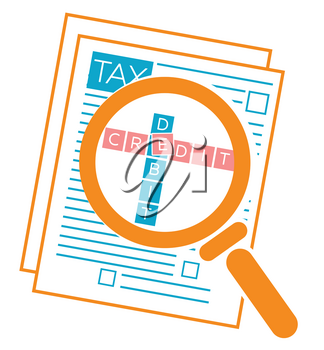 concept of checking the tax dekloratsii, the work of the accountant, accounting, tax audit, tax accounting in the form of a magnifier with document verification Icon in the linear style