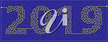 maze  (labyrinth) of mystery with the encrypted inscription 2019. The concept is a symbol of the new year