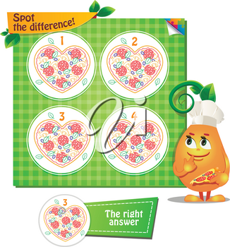 Visual Game for children. Task: Spot the difference singing pizza