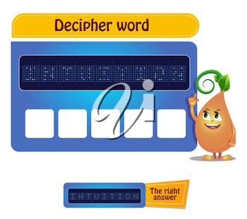 Visual Game for children and adults . Task game decipher word
