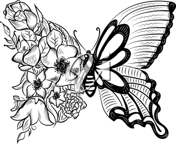 creative butterfly with a wing of flowers. Design element, logo in black and white color.