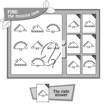 Visual Game for children and adults. Task game find the missing item. Black and white vector illustration
