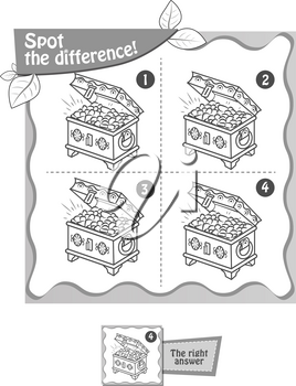 visual game for children and adults. Task  game spot the difference. black and white illustration