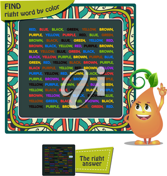 educational game for kids and adults development of logic, iq. Task game for children find right word by color