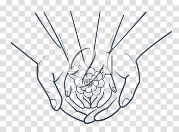 concept of protection, caring for a child in the form of an adult hand holding a child's hand and a flower in her hand. icon, silhouette in the linear style