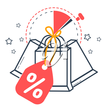 Icon sale  with  packages against the background of time. Icon in the linear style
