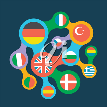 concept of language learning in the form interrelated flags of different countries as a symbol of translation and communication in different languages. icon in a flat style