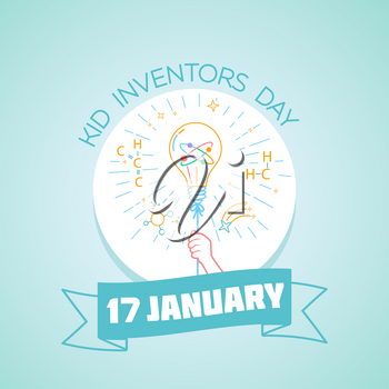 Calendar for each day on january 17. Greeting card. Holiday -  Kid Inventors Day. Icon in the linear style