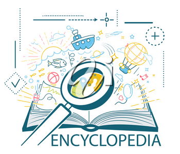 concept of education, a book library, an encyclopedia in the form of an open book and different icons and a magnifying glass to a card in the book. Icon in a linear style.