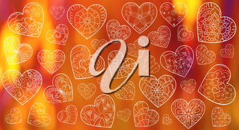Set of artistically hand drawn hearts. Valentines day background. Pattern for animation. Vector, doodle, zentangle, henna design elements.