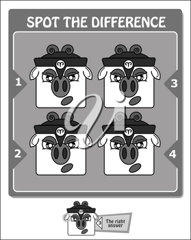 visual game for children and adults. Task to spot the difference. black and white vector illustration
