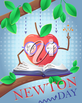 educational banner for the holiday Newton Day.