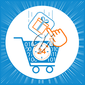 concept of sale, discounts in the online store in the form of shopping carts and virtual gifts with sale. icon in a linear style
