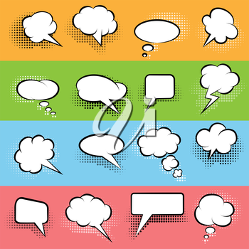 Speech Bubbles Set. Black and white bubbles and various halftone shadows. Retro Comic style.