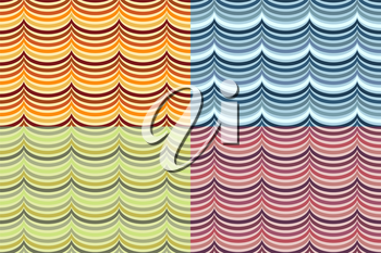 A vector set of seamless wave patterns in different colors