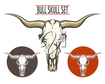 Set of Bull skulls drawn in tattoo style and two logos. Isolated on white.