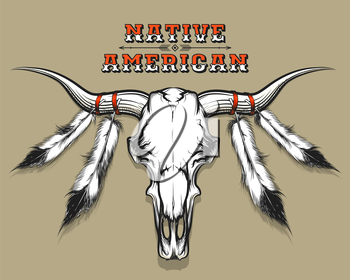 Bull Skull with feathers drawn in tattoo style. Native americans theme for emblem and print. Free font used.