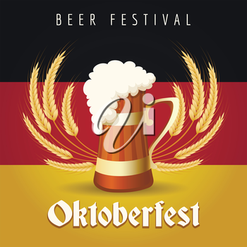 German Beer Festival Oktoberfest Emblem. Beer Mug against barley ears and German national flag.