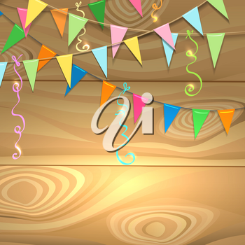 Garlands of flag and serpentine ribbons on wooden surface. Holiday poster with place for your message. Vector illustration