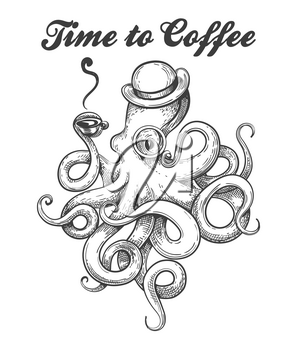 Octopus in bowler hat and eyeglass with cup of coffee in tentacle. Octopus Tattoo style with wording Time of Coffee. Vector illustration.