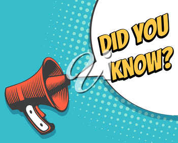 Retro Megaphone with Did You Know speech bubble in pop art Style. Banner for business marketing and advertising. Vector illustration.