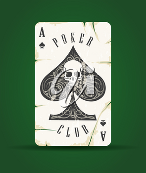 Ace of Spades with skull Poker Club Emblem on green background. Vector illustration.