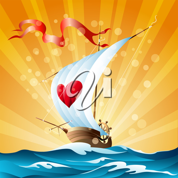 Small ship with a sign of heart on a sail. Cartoon illustration.