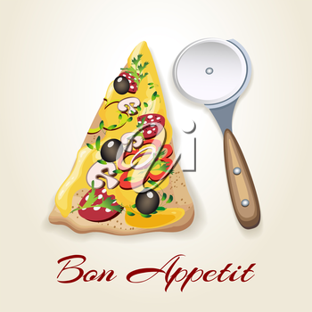 Illustration of pizza piece, rolling pizza knife and wording Bon appetit