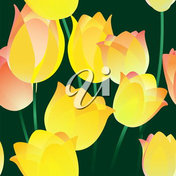 Seamless abstract pattern with tulips drawn with using gradients