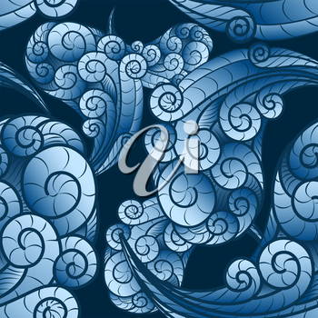 Seamless wave swirls patterns drawn in cartoon style with using gadients