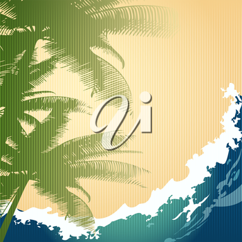 Illustration of palm trees against ocean wave drawn in retro style with using cardboard texture