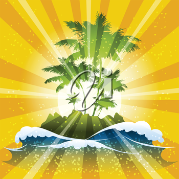 Illustration with tropical island and ocean waves against sunbeams background