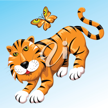 Funny illustration with tiger and flitting butterfly of a tiger coloring drawn in cartoon style