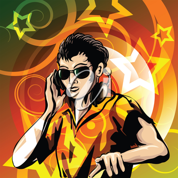 Illustration of disc jockey with headphones against colorful background drawn in poster style