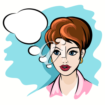 Woman Face with Speech Bubble. Pop Art Style  illustration.