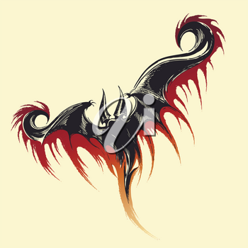 Hand drawn sketch of flying demon with splashes of blood. Vector illustration.