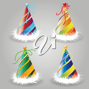 Set of Party hat. Birthday hat with color ribbon and fur. Vector decoration element for surprise costume.
