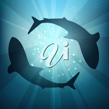 Two big sharks are circling under the water illuminated by sunlight and rays. Vector Illustration