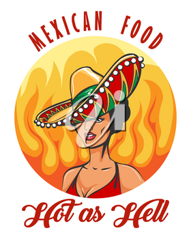 Mexican Food with Pretty Woman in Sombrero hat drawn in Retro style. Vector illustration.