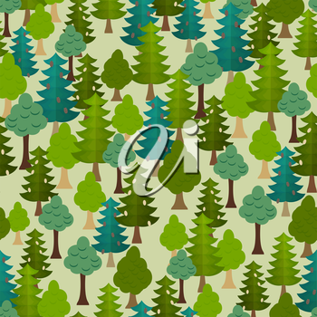 Seamless forest pattern. Cartoon tree.