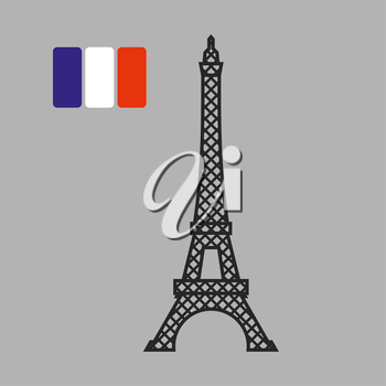 Eiffel Tower. Attraction of Paris. Vector illustration. Fflag of France on gray background.