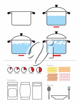 Manual cooking in a saucepan. Set to manual on preparation, cooking pasta or shrimp. Includes product packaging. And the cooking time. Vector illustration. Infographics for recipes Cook. Food cooking
