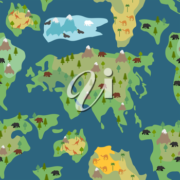Continents seamless pattern. World map is endless ornament. Geographical Atlas with flora and fauna background. Detailed map with animals and trees.
