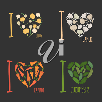 Set: I love vegetables: carrots and garlic. Symbol of heart of onions and cucumbers. Collection of signs for vegetarian food lovers.